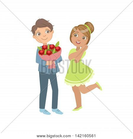 Boy Giving Flower Bouquet To A Girl Bright Color Cartoon Simple Style Flat Vector Sticker Isolated On White Background