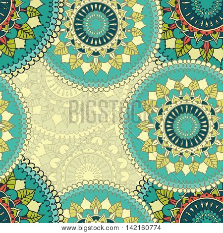 Seamless pattern with colored circular floral ornament. Floral background with mandalas for the greeting cards invitation template frame design business style cards textile backgrounds or else. Vector illustration.