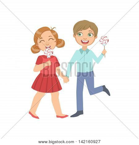 Boy And Girl On A Date Eating Candy Bright Color Cartoon Simple Style Flat Vector Sticker Isolated On White Background