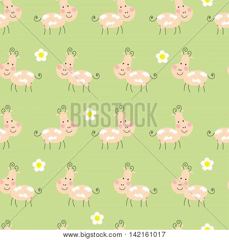 Seamless background with cute funny happy cow and flowers.Cloth design wallpaper wrapping.