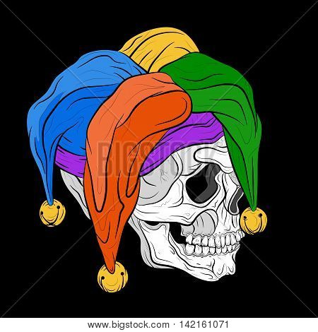 Human skull cap Jester color vector illustration isolated