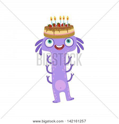 Violet Centipede Friendly Monster With Cake On A Head Cute Childish Sticker. Flat Cartoon Colorful Alien Character With Party Attributes Isolated On White Background.