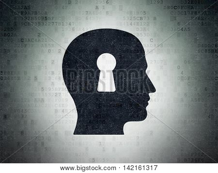 Data concept: Painted black Head With Keyhole icon on Digital Data Paper background