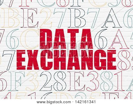 Data concept: Painted red text Data Exchange on White Brick wall background with Hexadecimal Code