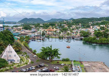 port city Castries, on island St.Lucia, Caribbean