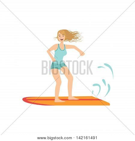 Girl On The Surf Board Illustration Isolated On White Background. Simplified Cartoon Character Flat Vector Icon