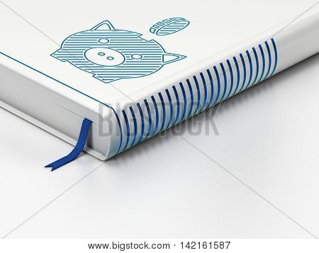 Money concept: closed book with Blue Money Box With Coin icon on floor, white background, 3D rendering