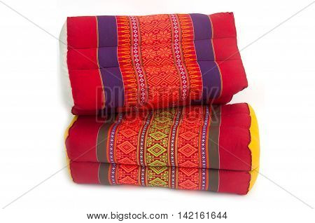 Tradition native Thai style square pillow cushion isolated on white background