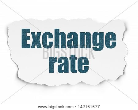 Banking concept: Painted blue text Exchange Rate on Torn Paper background with  Tag Cloud