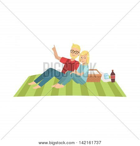 Couple Stargazing On Picnic Bright Color Cartoon Simple Style Flat Vector Clipart Isolated Illustration