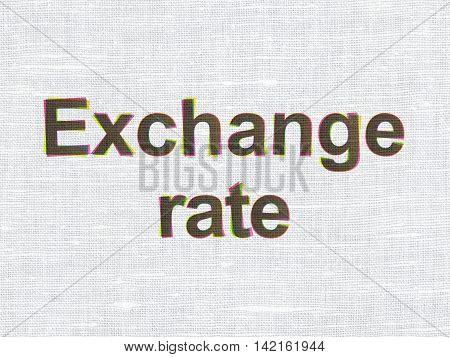 Money concept: CMYK Exchange Rate on linen fabric texture background