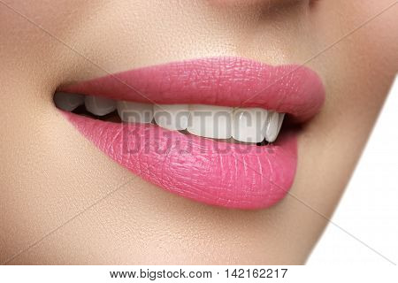 Macro Happy Woman's Smile With Healthy White Teeth, Bright Pink