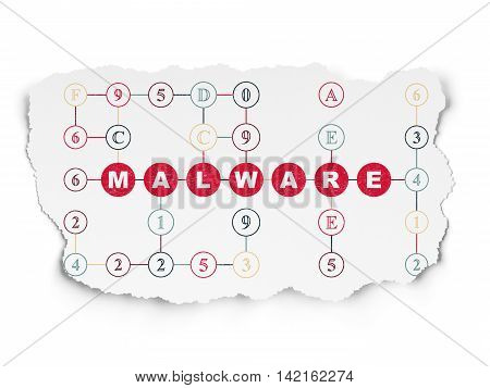 Security concept: Painted red text Malware on Torn Paper background with Scheme Of Hexadecimal Code