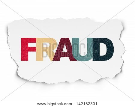 Security concept: Painted multicolor text Fraud on Torn Paper background