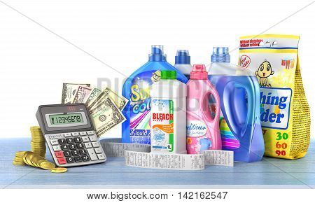 Economy on a detergents. Set of bottles of detergents and washing powders with a long shopping receipt money and calculator. 3d illustration
