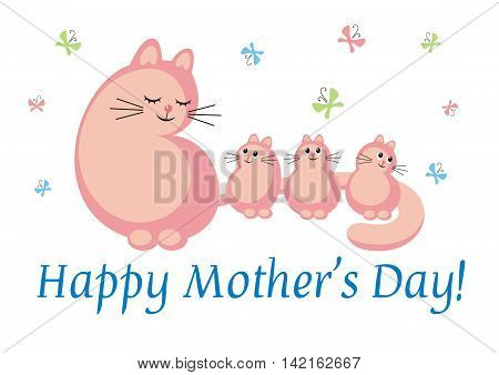 Mothers Day greeting card. pink cat and small kittens on a white background