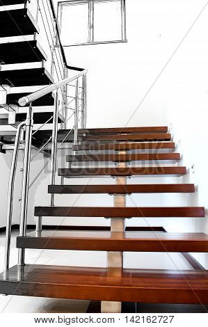 Image of modern stairs based on the architectonic project