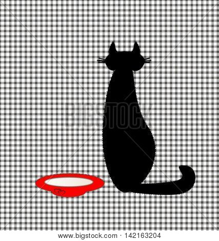 plaid sewing background and abstract black cat with plate of milk
