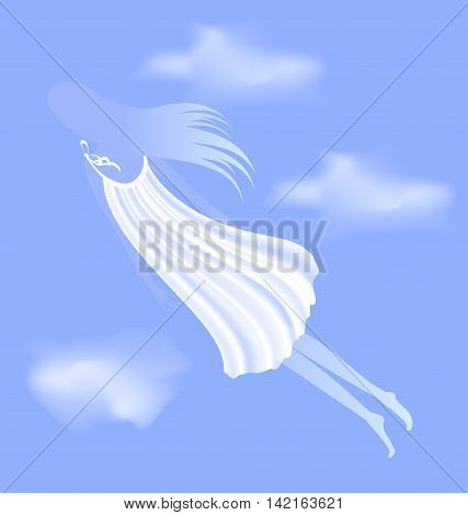 blue sky with clouds and abstract white silhouette of dream girl