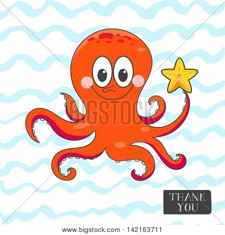 Cute smiling octopus with starfish sketch illustration. Postcard or Greeting card or T-shirt Grafics. Vector illustration.