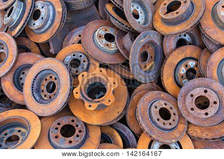 pile of old brake discs for recycling