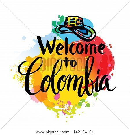 Hand lettering logo with watercolor elements. Vector illustration independence day of Colombia.