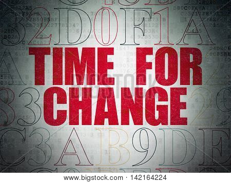 Time concept: Painted red text Time for Change on Digital Data Paper background with Hexadecimal Code