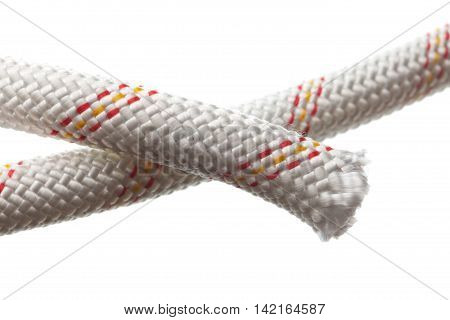 Macro of thick rope isolated on white background