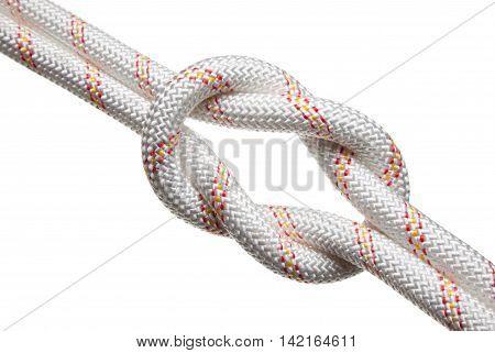 Macro of two rough nylon rope bond isolated on white