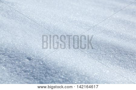 Closeup of clear empty snowfield winter background