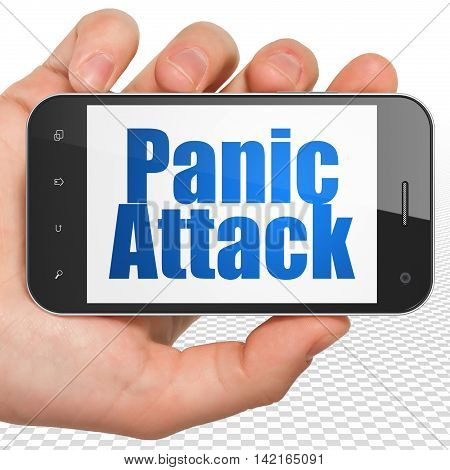 Healthcare concept: Hand Holding Smartphone with blue text Panic Attack on display, 3D rendering