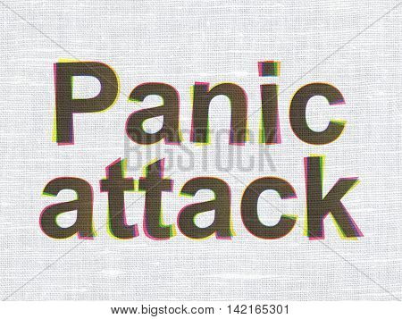 Healthcare concept: CMYK Panic Attack on linen fabric texture background