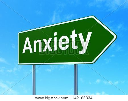 Healthcare concept: Anxiety on green road highway sign, clear blue sky background, 3D rendering