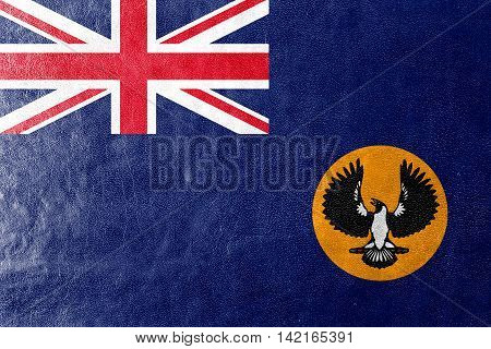 Flag Of South Australia State, Australia, Painted On Leather Texture