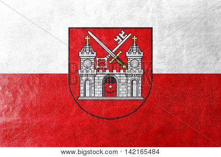 Flag Of Tartu, Estonia, Painted On Leather Texture