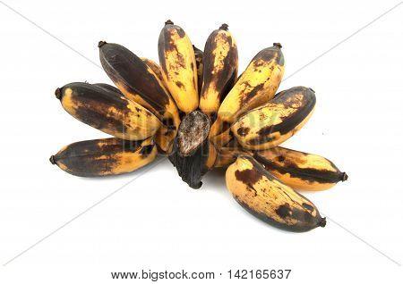 Overripe bananas. Banana expired. Isolated on white background