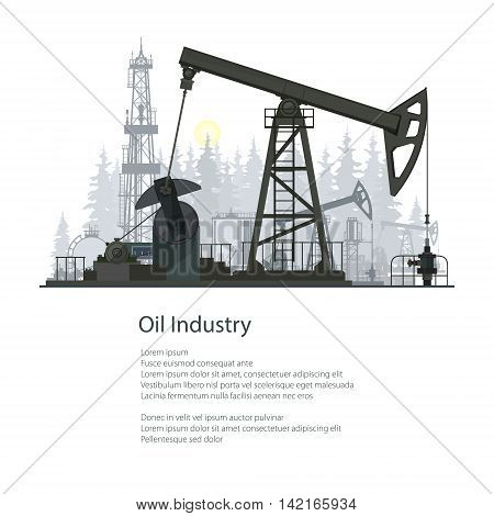 Pumpjack or Oil Pump Isolated on White Background, Oil Horse, Pumping Unit ,Gasshopper Pump, Oil Industry , Overground Drive for a Reciprocating Piston Pump in an Oil Well ,Poster Brochure Flyer Design