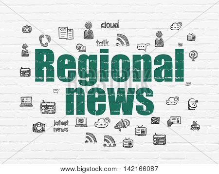 News concept: Painted green text Regional News on White Brick wall background with  Hand Drawn News Icons