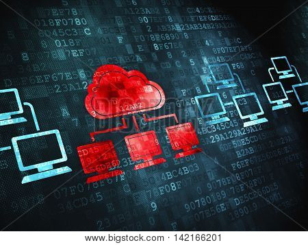 Cloud computing concept: pixelated Cloud Technology icon on digital background
