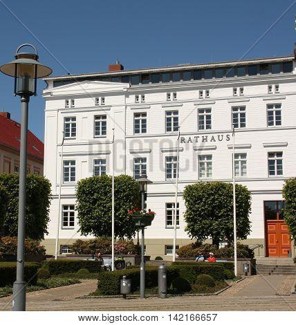 Bergen. June-06-2016. City hall in the city of. Bergen on the island of Ruegen. Germany