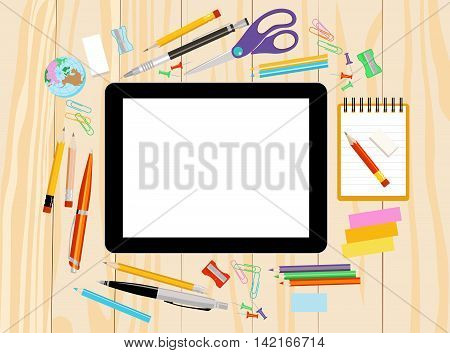 Modern flat vector illustration tablet PC with school office supplies on wooden background