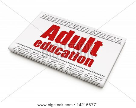 Learning concept: newspaper headline Adult Education on White background, 3D rendering