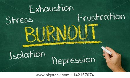Hand Writing On A Chalkboard - Burnout
