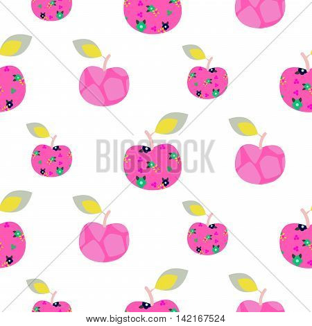 Apple pink pattern. Seamless patch apples fruit floral vector ornament. Pink fruit on white background.