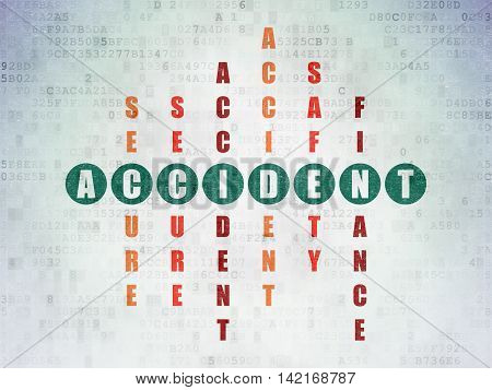 Insurance concept: Painted green word Accident in solving Crossword Puzzle on Digital Data Paper background