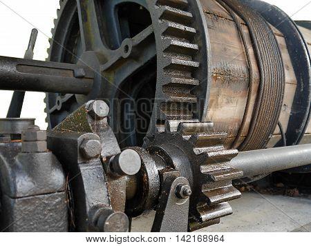 Old winch in cast mine - mining equipment