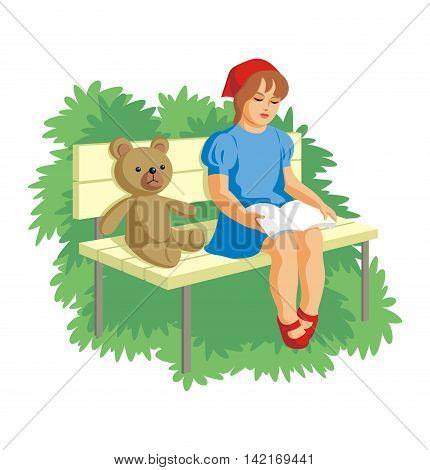 little girl sitting in the garden on a bench and reading a book