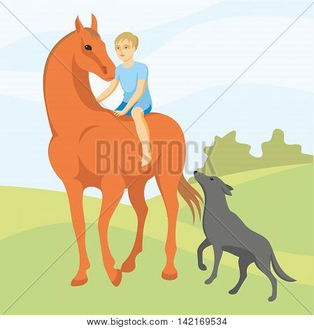 the little boy makes horse walk accompanied by a dog, vector