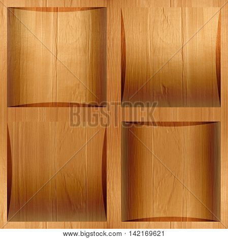 Wooden coffered paneling stacked for seamless background