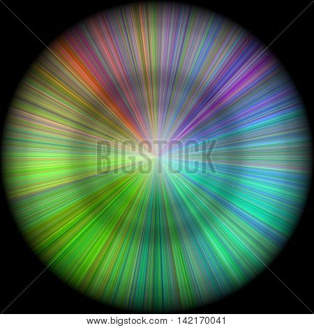 Abstract colorful rainbow circle on black background